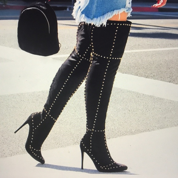 21039f13f96b5 Fashion Nova Shoes | Stud Rich Heel Boot 7 Black Heels | Poshmark
